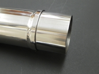 ストッパーリング付きにリメイク加工をしたフロントパイプ接合部分